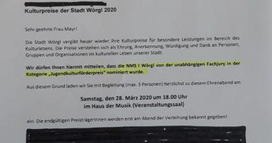 "NMS 1 nominiert zum ""Jugendkulturförderpreis"""