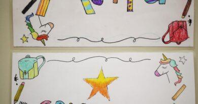 Kreative Namensschilder der 1c Klasse